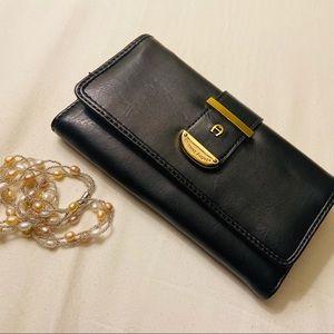 Etienne Aigner black trifold wallet